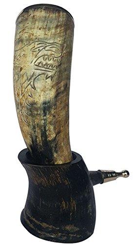 Cuerno de toro XXL: cuerno para bebidas artesanal con grabado del rey Robb, el'Joven Lobo'; de 30,5 a 35,5cm (12-14pulg.) con embellecedor de latón en el borde superior y en la empuñadura