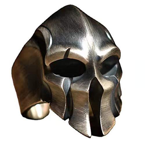 Dixinla Anillo Amuleto para Hombre Casco Guerreros Corintios Griegos Retro Ajustable Hecho A Mano, Proceso De Trefilado Alambre Cobre Viking Knight Warrior Cool Mask Punk Biker Band