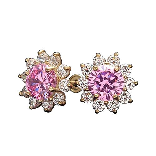 DTJEWELS 2.00 Ct Prong Set Round Pink and White Sapphire Flower Halo Stud Earrings For Women 14K Yellow Gold Finish Wedding Gift Valentine Day Jewelry
