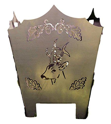 Baßner Holzbau Feuerkorb rostig Motiv Rehbock mit Eichenlaub aus 3 mm Stahl, edelrost, 50x50x60 cm, 2016-1324-AR-0002