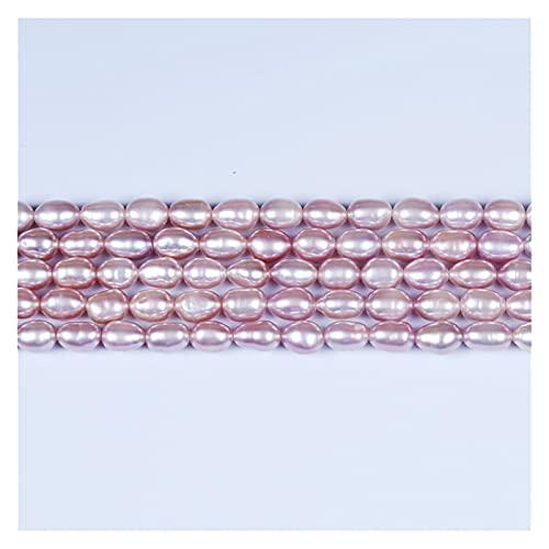 Delawen AAA Grado 5-6mm Arroz Pearl Pearl DIY Collar Bracelat Joyas Haciendo Forma de Arroz Natural Blanco Púrpura Púrpura Perlas Strand Vintage Palace Luxury Palace Hecho A Mano Arte