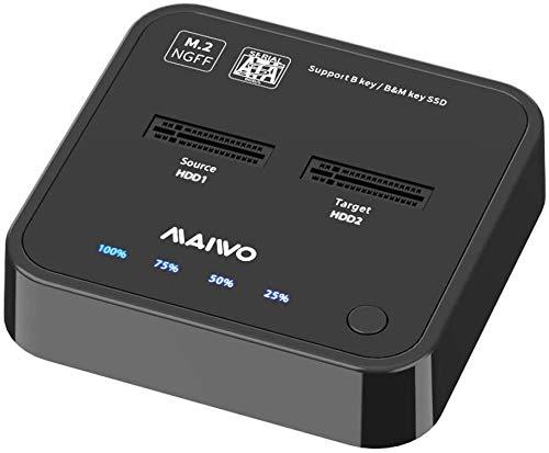 MAIWO K3016S Estación de Acoplamiento de Disco Duro, Caja de Disco Duro Base de Doble bahía M.2 SATA, duplicador Offline con Fuente de alimentación de 5V 3A, USB C 3.1 Gen 2 con hasta 10Gbps.