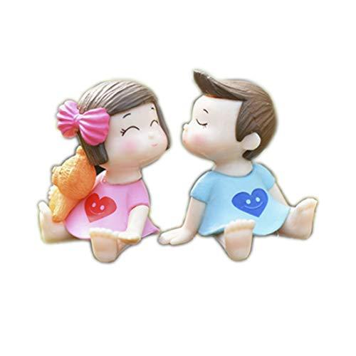 Figuras de niños que se besan de PVC 2 unidades Decoración Casa Jardín Pasteles Cupcake Muñecas en miniatura pareja de niños lindos decoración cumpleaños bombonera nacimiento bautizo DIY