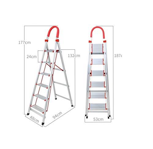 YZQ Stap Krukken Aluminium Huishoudelijke Ladder Vouwen Draagbare Escalator Trappen Dikke Vier - Vijf - Six-Step Ladder RVS interieur Woordladderkruk Hoge Levende Opvouwbare Stap Krukken 6 Kleur: wit