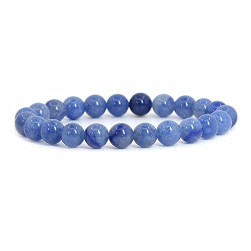 Natural Blue Aventurine Rock Crystal Gemstone 8mm Round Beads Stretch Bracelet 7 Inch Unisex