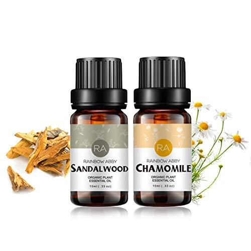 Conjunto de aceites esenciales de sándalo y manzanilla Aromaterapia Aceites orgánicos 100% puros para difusor, masaje, piel- 2 x 10 ml