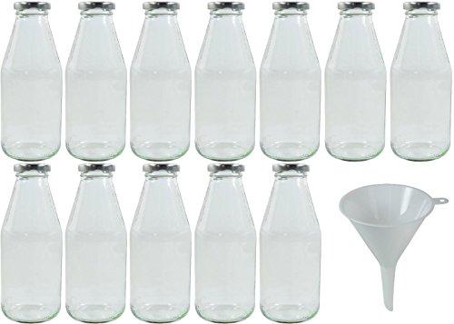 mikken 12 x Glasflasche 500 ml, Flasche mit Schraubverschluss Silber inkl. Trichter