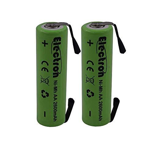 2 xbaterías recargables Ni-Mh Stilo de 1,2V y 2600mAh. Con lengüetas terminales para soldar por paquetes de baterías