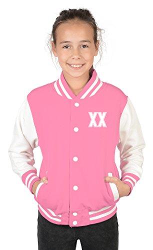Collegejacke Mädchen in rosa mit persönlichem Wunschjahr vorne - Kinder Jacke Schule Freizeit Geburtstag Geschenk, Kinder Größe:XL / 152