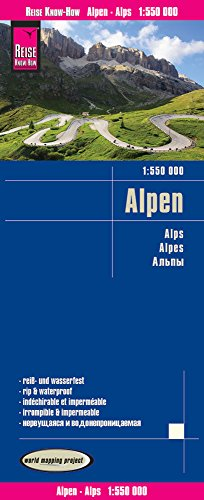 Alpes, 1:550.000. Mapa de carreteras impermeable. Reise Know-How.: world mapping project