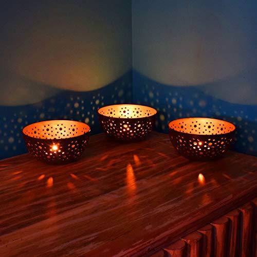 Set van 3 Oosterse lantaarns Oosterse Zlafa 12,5 cm groot | Oosterse vintage theelichthouders koperkleuren binnen zwart buiten | Marokkaanse lantaarns van metaal als decoratie