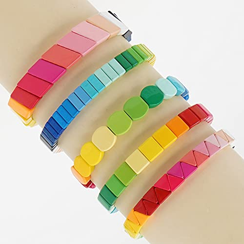 ZFAYFMA Pulsera de Pareja, Pulsera elástica elástica de Azulejos Coloridos, Adecuado para Lesbianas, Gay, Bisexual Pulsera LGBT 16 cm Style One