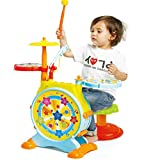 Prextex Kids' Electric Toy Drum Set for Kids Working Microphone Lights...