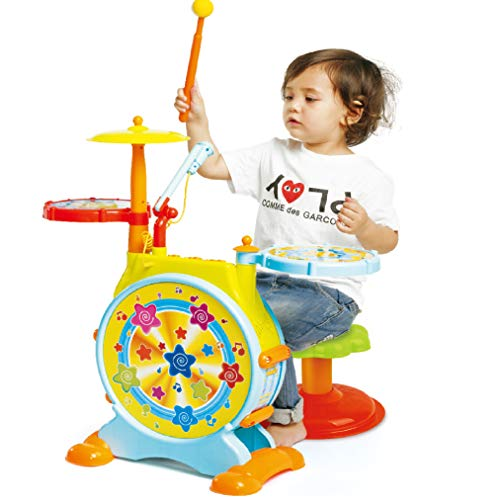 Prextex Kids' Electric Toy Drum Set for Kids Working Microphone Lights and Adjustable Sound Bass Drum Pedal Drum Sticks with Little Chair All Included
