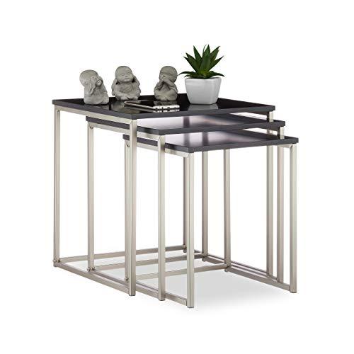 Relaxdays, zwart/zilver bijzettafel vierkant set van 3, mat stalen frame, tafeltje, MDF, HxBxD: 42x40x40 cm