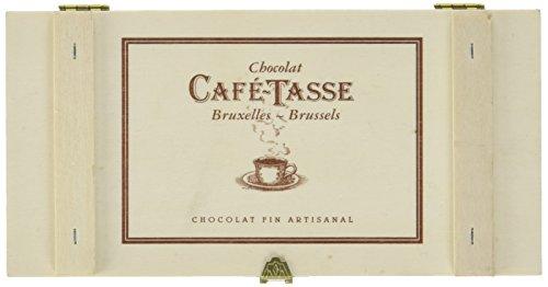 """Café Tasse Holz Geschenkbox """"Coffee"""" mit 3 verschiedenen Napolitains und schokolierten """"Cordoba"""" Kaffeebohnen, 1er Pack (1 x 110 g)"""