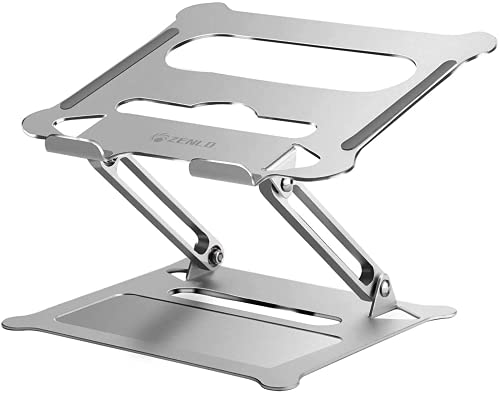 ZENLO ノートパソコンスタンド PC タブレットスタンドアルミ製 高さ/角度調整 折りたたみ 滑り止め 軽量(シルバー)