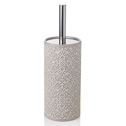 BARONI Scopino con Porta Scopino WC in Ceramica Tortora Decorata 10X10X32 cm