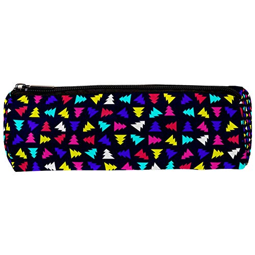 Christmas Tree Bright Lights Pattern Pencil Bag Pen Case Stationary Case Pencil Pouch Desk Organizer Makeup Cosmetic Bag for School Office