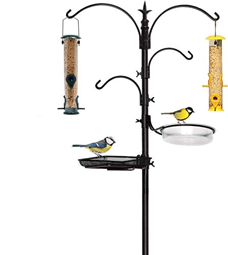 feeder for multiple birds Premium Bird Feeding Station with 2 Bird Feeders Included for Outside - Multi Feeder Pole Stand Kit with 4 Hangers, Bird Bath and 5 Prong Base for Attracting Wild Birds - 22 Inch Wide x 92 Inch Tall