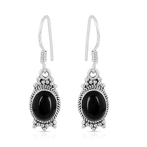 Gemshiner - Pendientes de plata de ley 925 con forma ovalada de ónix negro hechos a mano con inspiración victoriana para mujeres y niñas, el mejor regalo para ella