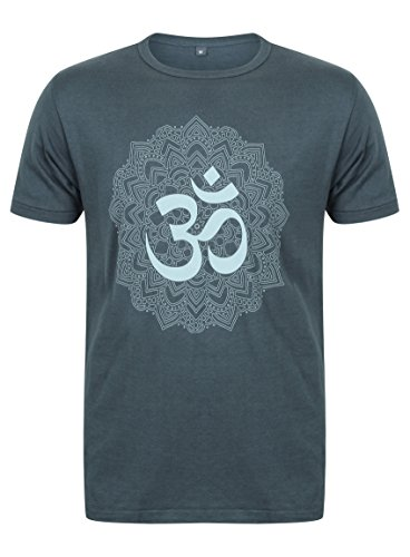 Born Peaceful Men's Yoga Bamboo T-Shirt with Om Mandala Design - Denim Blue (Small)