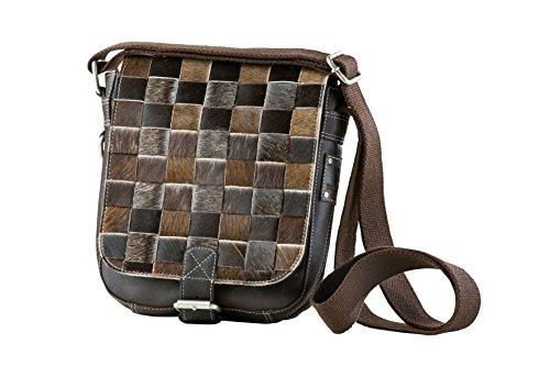 Tasche echt Leder Bull&Hunt Umschlagtasche mit Farben Fell immer ein UNIKAT