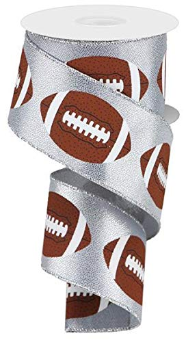 Metallic Football Wired Ribbon - 10 Yards (Silver, 2.5 Inches)