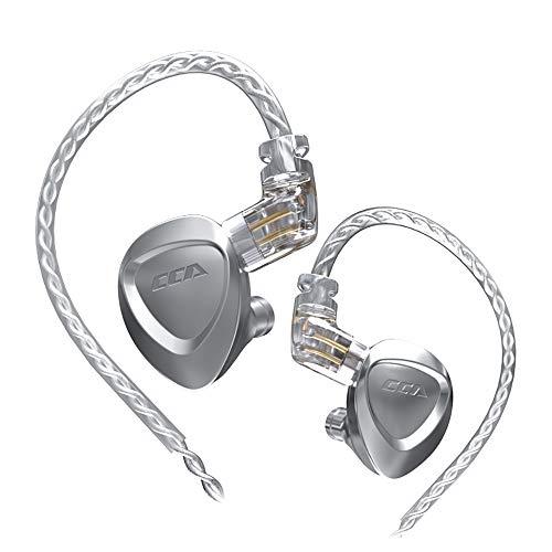 CCA CKX イヤモニ型 イヤホン 3Dステレオサウンド Hi-Fi高音質 イヤホン 片側 6BA+1DD ハイブリッド型イヤホンを搭載 カナル型 イヤホン 高遮音性 音源と相性がよく リケーブル 可能 (CKX 銀)