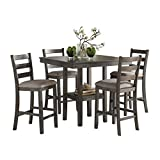 Homelegance 5-Piece Pack Counter Height Dinette Set, Gray...