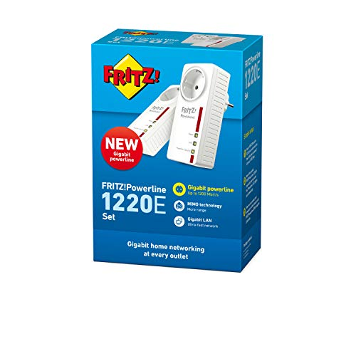 AVM FRITZ! 20002753 Powerline 1220E Set Kit di 2 Adattatori con Presa Passante, Fino a 1200 Mbps, 2 Porte LAN Gigabit, Plug and Play, Eco Mode, Bianco/Rosso