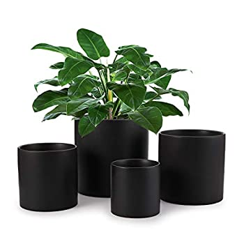 Fasmov 4 Pack Ceramic Pots for Plants Plant Pots with Drainage Hole Indoor Perfect for Plants Flowers Succulents Black