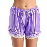 YiZYiF Women's Adult Shiny Silk Satin Lace Ruffles Maid Pumpkin Shorts Bloomers Purple One Size