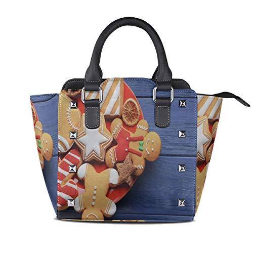 Designer Handtasche Platte leckere Weihnachtsplätzchen auf Holz benutzerdefinierte Griff Geldbörsen Pu Leder Niet tragbare Mode Druck wasserdicht mit Reißverschluss Frau Mode Taschen