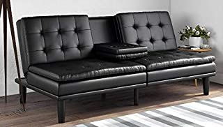 Upholstered in Faux Leather Mainstays Memory Foam Pillowtop Futon with Cupholders