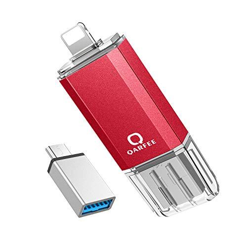 Qarfee USB Stick für iPhone, USB Stick 32GB USB Speicher iPad Speichererweiterung für iPhone, Android, iPad, Mac, Computer, Laptop (Rot)