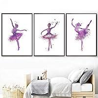 ピンクのバレエダンサーの壁アートキャンバス絵画北欧のポスターとプリント壁の写真女の赤ちゃんの部屋の家の装飾  30X50cmx3Pcs /フレームなし
