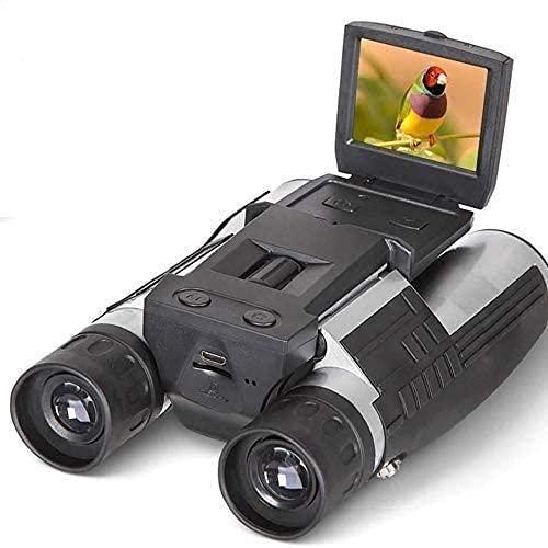 """HUAQINEI Binoculares para Adultos Caza Regalos Cámara Digital 1080p 2.0""""LCD 12x32 HD Binoculares Negros Telescopio Plegable con cámara Digital integrada Nuevo Full HD (8 GB)"""