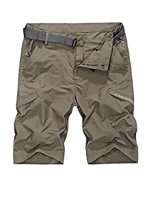 Men's Outdoor Casual Expandable Waist Lightweight Water Resistant Quick Dry Cargo Fishing Hiking Shorts,5516,Khaki,US 34