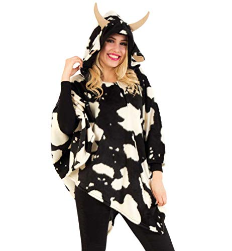 KarnevalsTeufel Erwachsenenkostüm Poncho Kuh in schwarz-weiß mit Kapuze in Einheitsgröße Kuhfellmuster Cape Verkleidung