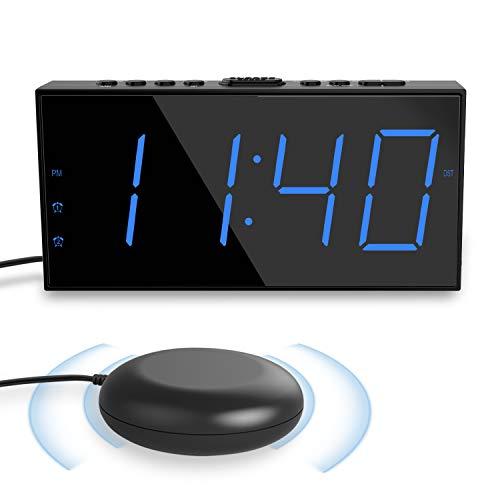 ROCAM Reloj Despertador de Vibración para Sordos,LED Despertador Digital para Duermen Profundamente,Pantalla Grande de 7 \'\' y Atenuador, Alarma Doble, Cargador USB, Horario de verano de 12/24 h - Azul