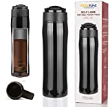 GoldTone Brand Portable French Press Vacuum Insulated Travel Mug - Double Walled French Press Tea and Coffee Maker - Premium Stainless Steel - 350 mL 12 fl oz (Black)