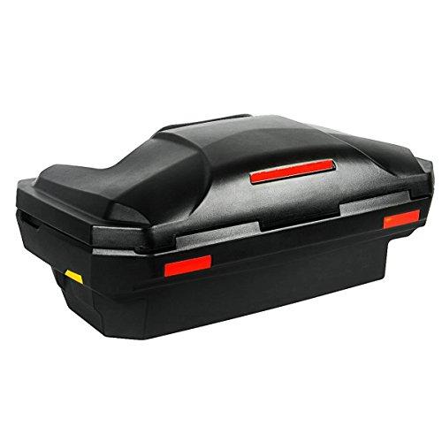 Universal Quad ATV Heck Koffer wetterfest aus LLDPE Kunststoff (stoßfest) Lehne mit Rückenpolster, Transportkoffer abschließbar mit großer Ladeöffnung, Heckkoffer Topcase inkl. Befestigungsmaterial