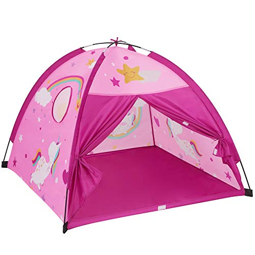 SONGMICS Unicorn Play Tent, Pop up Castle Tent with Carry Bag, for Girls and Boys Toddlers, Indoor and Outdoor Fun, Perfect Kid's Gift, Unicorn Theme, Pink ULPT503P01