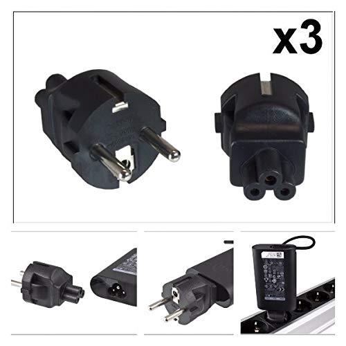 DINIC Stromadapter, Netzadapter Schutzkontaktstecker CEE 7/7 auf C5 Stecker, Adapter (3 Stück, schwarz)