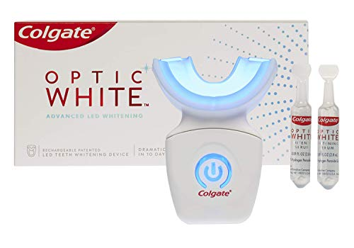 Colgate Optic White At Home Teeth Whitening Kit, LED Blue Light Tray, 10 Day Treatment, 9% Hydrogen Peroxide Whitening Gel