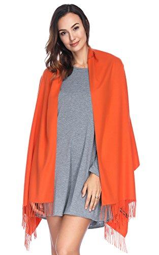 HOYAYO Einfarbiger Kaschmir schal für Frauen,Damen Umschlagtuch Pashmina Schal Tuch Stola,28X78,orange