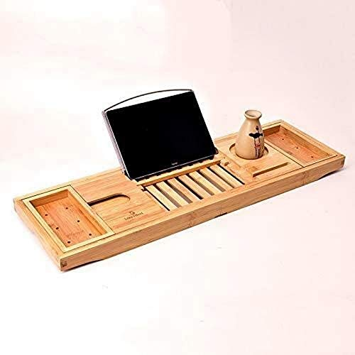 aipipl Bamboo Wood Bathroom Organizer Bed Tray, Extendable Bathtub Caddy Tray, with Wine Holder, Cup Placement, Soap Dish, Book Space Phone Slot for Spa, Bathroom Shower