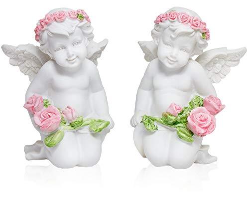 ootb Sitzende Engel weiß Dekofigur Figur Grab Engelfigur Engelchen Schutzengel Glücksengel Geschenkidee Polyresin Kunststein 2er Set back2season