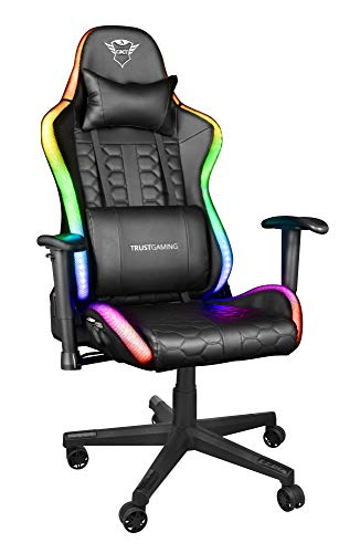 Trust Gaming Sedia da Gaming illuminata LED RGB GXT 716 Rizza - Sedia PC Ergonomica Regolabile con 350 Colori, Totalmente Girevole, con Cuscini Removibili - Nero